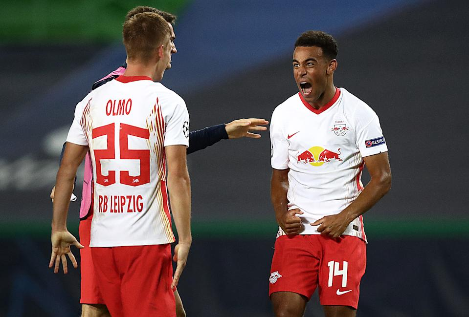 Tyler Adams (right) scored the biggest club goal by an American men's soccer player ever last week in the Champions League. (Photo by Julian Finney - UEFA/UEFA via Getty Images)
