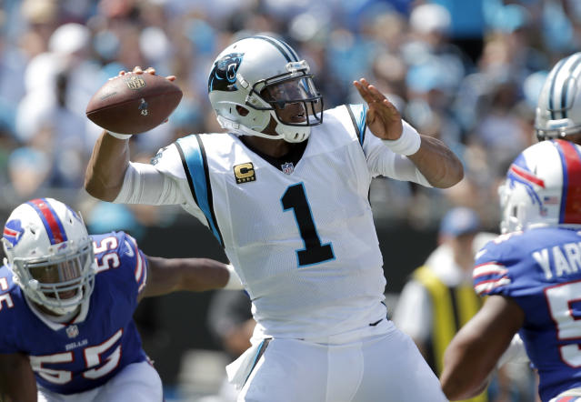 Cam Newton was sacked six times in the Panthers' 9-3 win over the Bills. (AP)