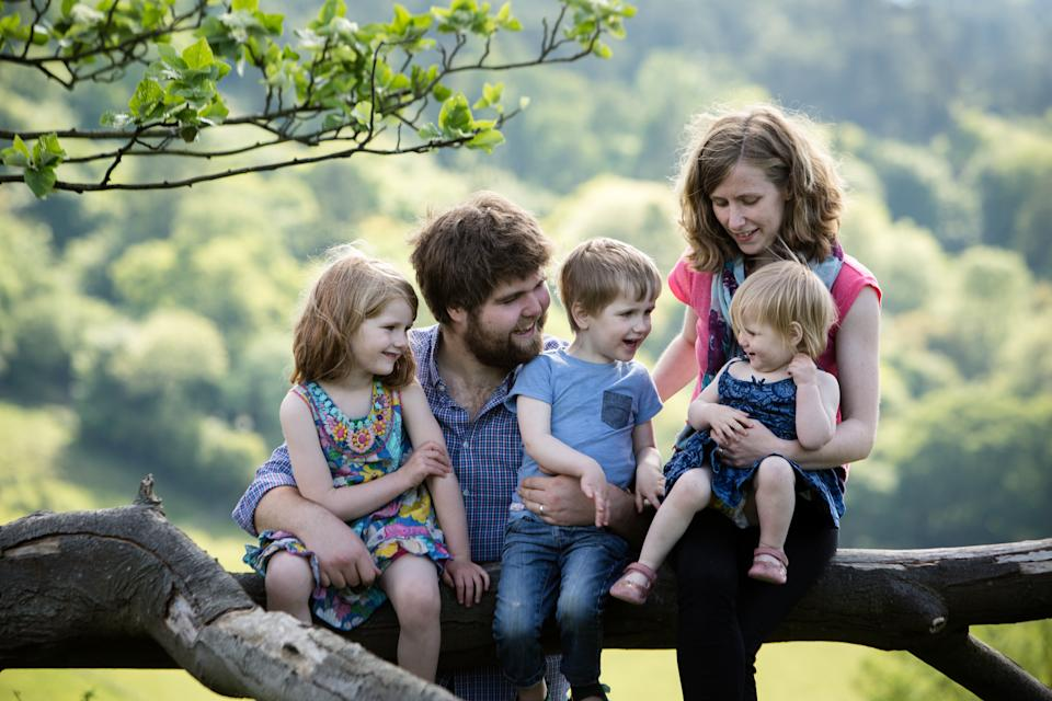 Zoe Powell from Chinnor, Oxfordshire, with her husband Josh and their three children. (Sarah Mak Photography)