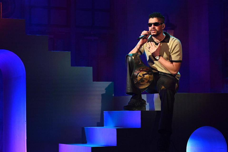 """<p>Bad Bunny performed """"La Noche de Anoche"""" with Rosalía and """"Te Deseo lo Mejor"""" during his <em>Saturday Night Live</em> debut as musical guest in New York City.</p>"""