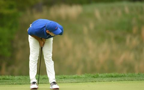 Rory McIlroy stoops in frustration after a missed putt - Credit: USA TODAY Sports