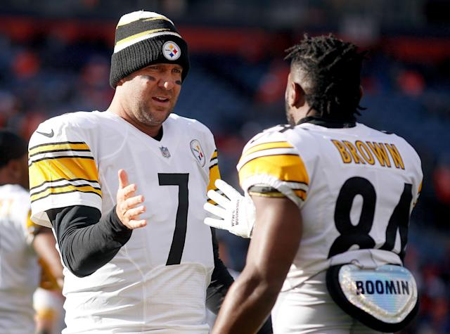 Antonio Brown (84) and Ben Roethlisberger (7), in happier times. (AP)