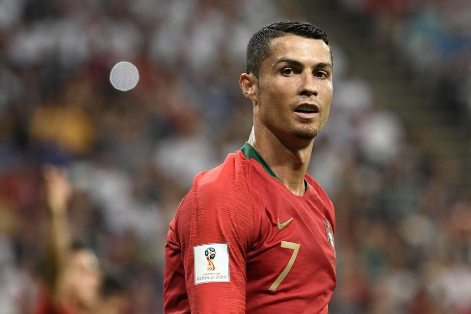 Portugal's Cristiano Ronaldo reacts during the Russia 2018 World Cup Group B football match between Iran and Portugal. (Getty Images)