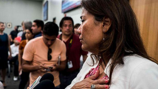 PHOTO: Rep. Veronica Escobar answers questions after a press briefing, following a mass fatal shooting, at the El Paso Regional Communications Center in El Paso, Texas, Aug. 3, 2019. (Joel Angel Juarez/AFP/Getty Images)
