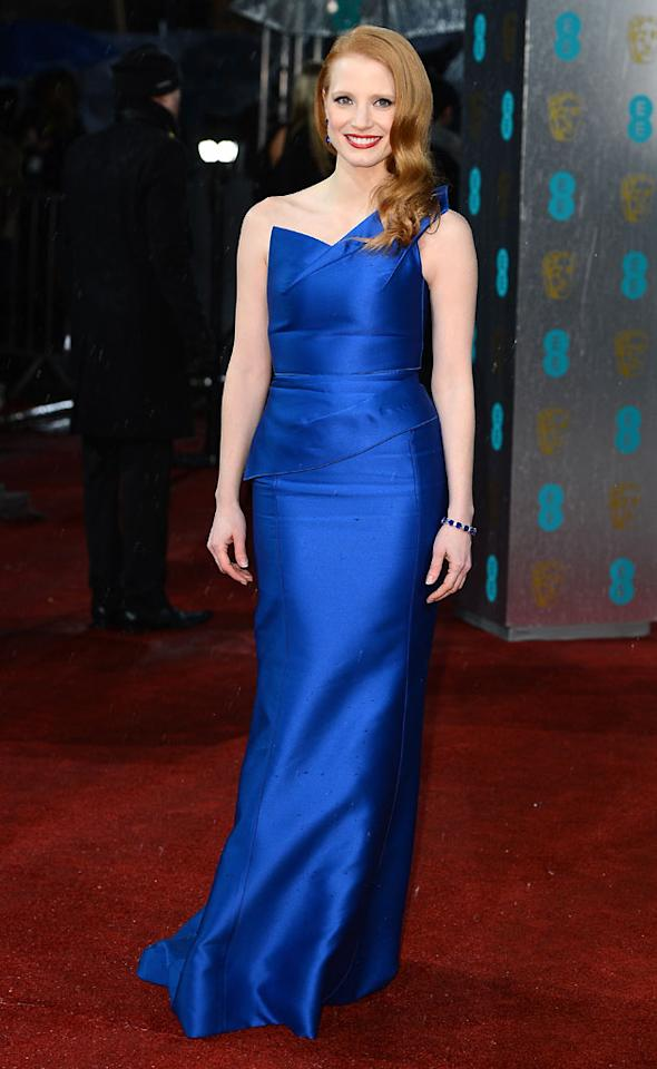 Jessica Chastain attends the EE British Academy Film Awards at The Royal Opera House on February 10, 2013 in London, England.  (Photo by Ian Gavan/Getty Images)