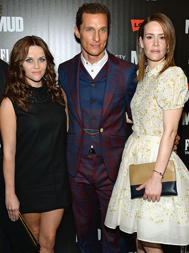 """Reese Witherspoon, Matthew McConaughey and Sarah Paulson attend the Cinema Society screening of """"Mud"""" at The Museum of Modern Art on April 21, 2013 in New York City.  (Photo by Dimitrios Kambouris/Getty Images)"""