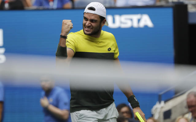 Matteo Berrettini, of Italy, pumps his fist after winning a point against Gael Monfils, of France, during the quarterfinals of the U.S. Open tennis championships Wednesday, Sept. 4, 2019, in New York. (AP Photo/Frank Franklin II)