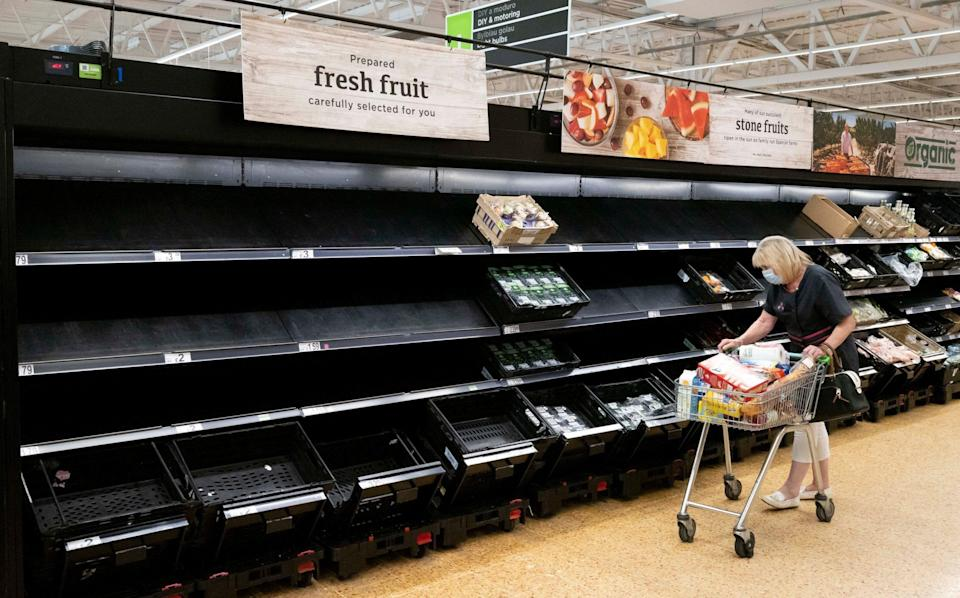 Supermarket shelves have been going bare across the country due to staff being told to self-isolate - Matthew Horwood/Getty Images