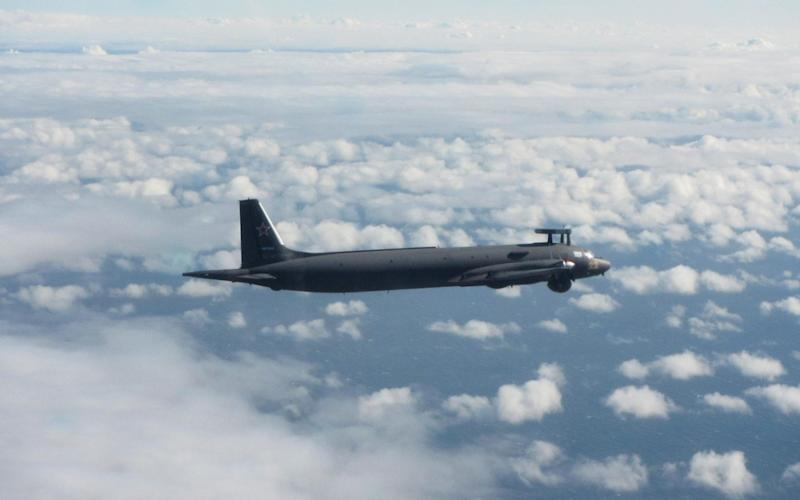 Russian IL-38 'MAY' Maritime Patrol Aircraft. Image capture by RAF Typhoon Pilot over the Baltic Sea 30 July 2020. - RAF
