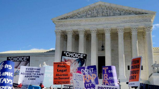 PHOTO: Supporters of legal access to abortion, as well as anti-abortion activists, rally outside the Supreme Court in Washington, March 2, 2016, as the Court hears oral arguments in the case of Whole Woman's Health v. Hellerstedt. (Sipa via AP, FILE)