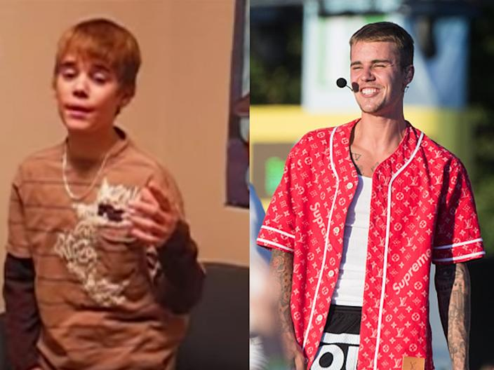 """A young Justin Bieber performing """"With You"""" on his YouTube channel, and Bieber performing in 2017."""