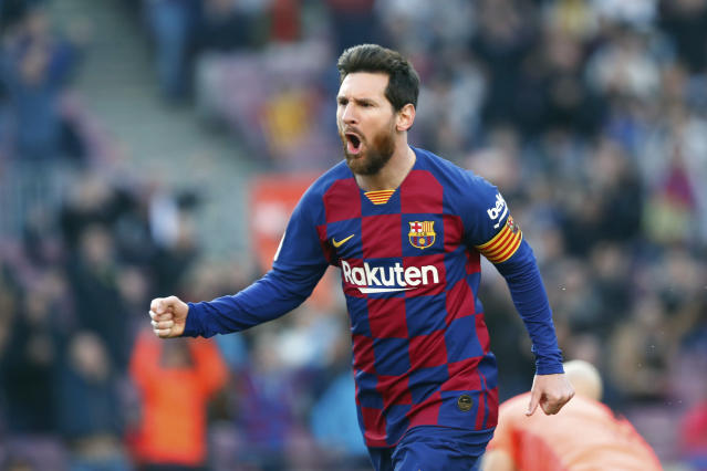FILE - In this Saturday, Feb. 22, 2020 file photo, Barcelona's Lionel Messi celebrates after scoring his side's opening goal during a Spanish La Liga soccer match between Barcelona and Eibar at the Camp Nou stadium in Barcelona, Spain. panish Prime Minister Pedro Snchez announced Saturday, May 23, 2020 that the soccer league in Spain will be allowed to resume from June 8. While the top tier, La Liga, can play from this date, it has already said it wants to resume play on June 12. It is unclear when the first games will be held. There has been no play in the top tier since March 12 due to the coronavirus crisis. (AP Photo/Joan Monfort, File)