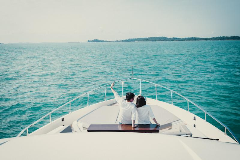 The Hees on a cruise onboard the Ferretti 780 yacht. (PHOTO: The World's Most Exclusive Dinner)