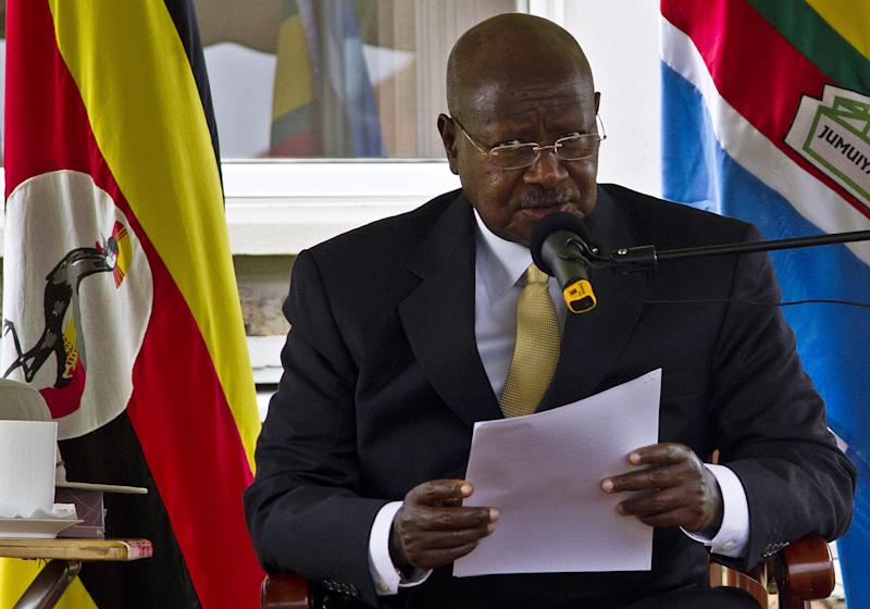 Uganda's veteran ruler Yoweri Museveni is standing for re-election on February 18, 2016 (AFP Photo/Isaac Kasamani)