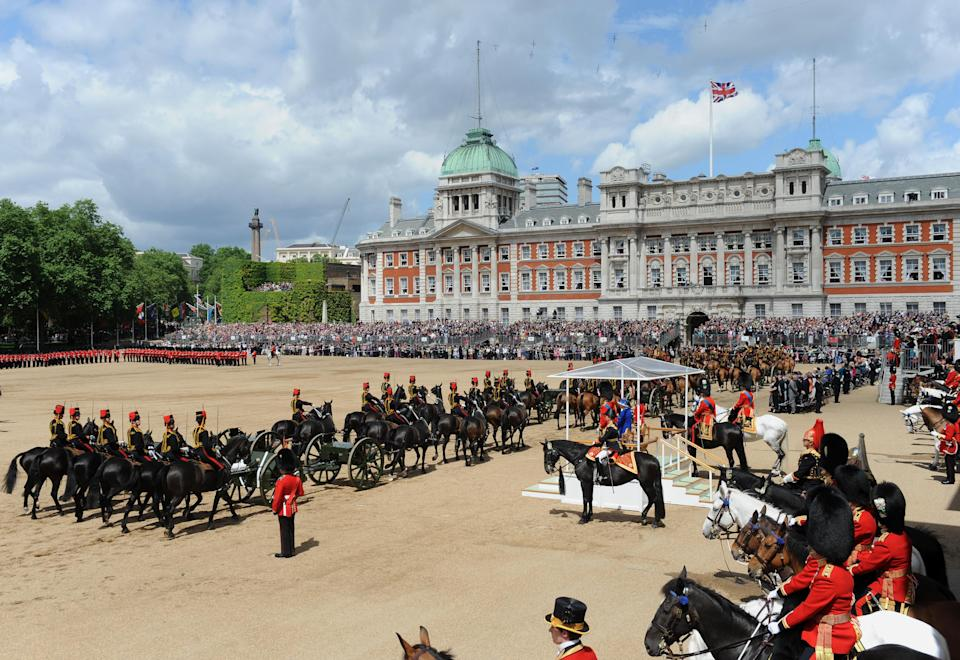 Queen Elizabeth II inspects the Household Cavalry during the Colour at Horse Guards Parade, London.   (Photo by Anthony Devlin/PA Images via Getty Images)