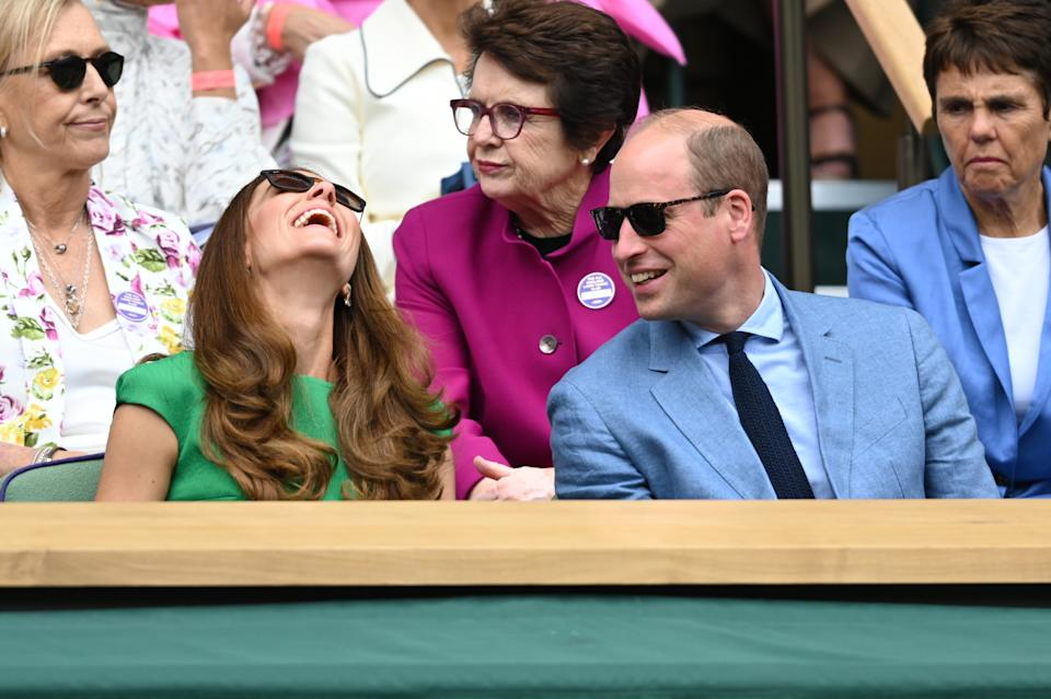 LONDON, ENGLAND - JULY 10: Catherine, Duchess of Cambridge, Billie Jean King, and Prince William, Duke of Cambridge attend Wimbledon Championships Tennis Tournament at All England Lawn Tennis and Croquet Club on July 10, 2021 in London, England. (Photo by Karwai Tang/WireImage)