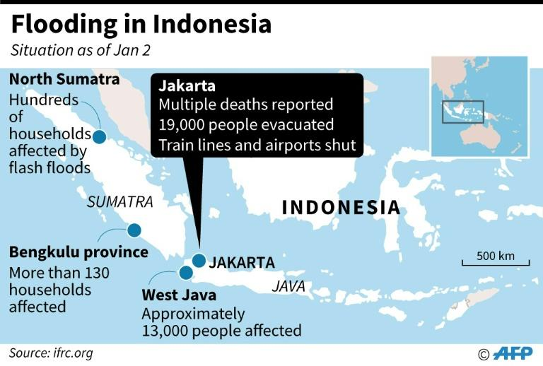 Map of Indonesia locating areas affected by flooding as of January 2