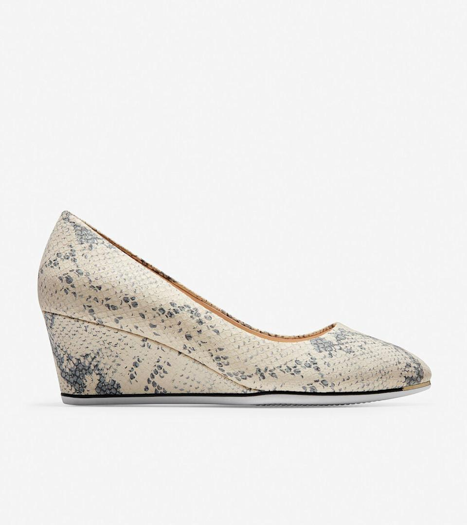 """<h3><a href=""""https://www.colehaan.com/"""" rel=""""nofollow noopener"""" target=""""_blank"""" data-ylk=""""slk:Cole Haan"""" class=""""link rapid-noclick-resp"""">Cole Haan</a></h3><br><strong>Dates:</strong> Limited time<br><strong>Sale:</strong> <a href=""""https://www.colehaan.com/womens-sale-under40"""" rel=""""nofollow noopener"""" target=""""_blank"""" data-ylk=""""slk:Best sellers for under $40"""" class=""""link rapid-noclick-resp"""">Best sellers for under $40</a><br><strong>Promo Code:</strong> None<br><br>Cole Haan is running an epic end-of-season sale on many a top-rated best-sellers. (Check out our fanatical <a href=""""https://www.refinery29.com/en-us/cole-haan-shoes-best-sellers-reviews-women"""" rel=""""nofollow noopener"""" target=""""_blank"""" data-ylk=""""slk:deep dive on the brand"""" class=""""link rapid-noclick-resp"""">deep dive on the brand</a> if you don't believe us.) They've gathered up <a href=""""https://www.colehaan.com/womens-sale-under40"""" rel=""""nofollow noopener"""" target=""""_blank"""" data-ylk=""""slk:everything under $40"""" class=""""link rapid-noclick-resp"""">everything under $40</a> on a hand-dandy landing page for thorough wallet-emptying.<br><br><strong>Cole Haan</strong> Grand Ambition Wedge, $, available at <a href=""""https://go.skimresources.com/?id=30283X879131&url=https%3A%2F%2Fwww.colehaan.com%2Fgrand-ambition-wedge-chalk-python-print-leather%2FW17181.html"""" rel=""""nofollow noopener"""" target=""""_blank"""" data-ylk=""""slk:Cole Haan"""" class=""""link rapid-noclick-resp"""">Cole Haan</a>"""