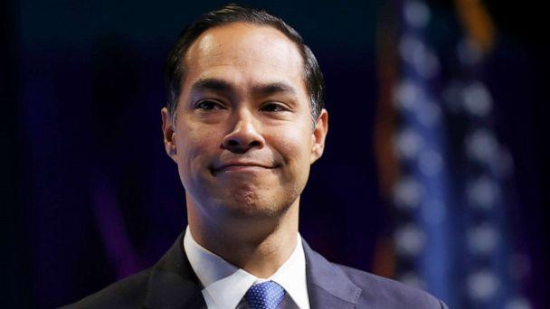 PHOTO: Former Housing and Urban Development Secretary and Democratic presidential candidate Julian Castro speaks at the J Street National Conference, with the hosts of 'Pod Save the World,' Oct. 28, 2019, in Washington. (Jacquelyn Martin/AP)