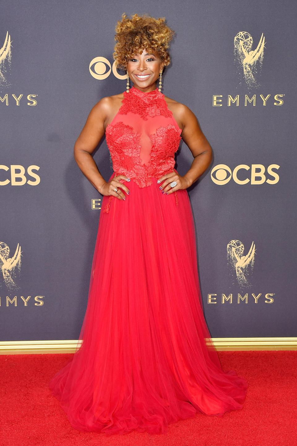<p>Tanika Ray attends the 69th Primetime Emmy Awards at the Microsoft Theater on Sept. 17, 2017, in Los Angeles.<br> (Photo: Getty Images) </p>