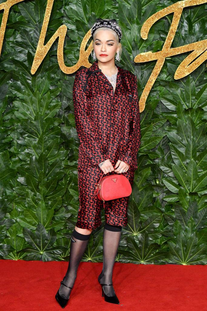 <p>Rita Ora proved you don't need a designer frock to tackle the red carpet when a gram-worthy co-ord looks this good. Only Rita could make stockings cool… <em>[Photo: Getty]</em> </p>