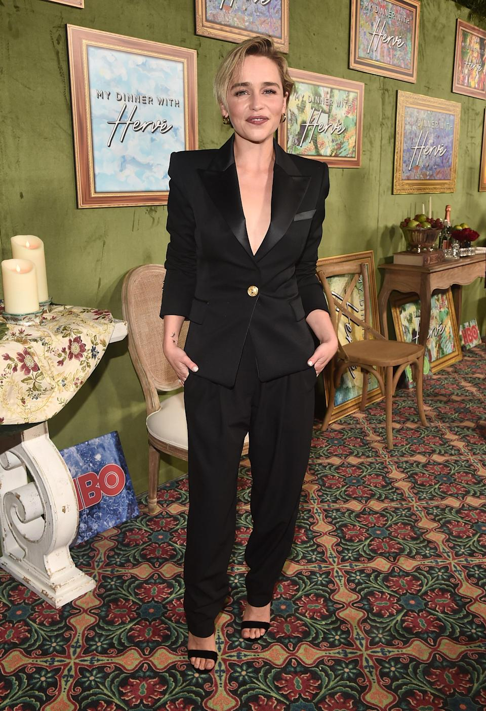 <p>Emilia Clarke looked sleek and sophisticated in a Balmain suit with open toe sandals at the HBO Films' premiere of 'My Dinner With Herve' at the Paramount Studios in Hollywood, California. <i>[Photo: Getty]</i> </p>