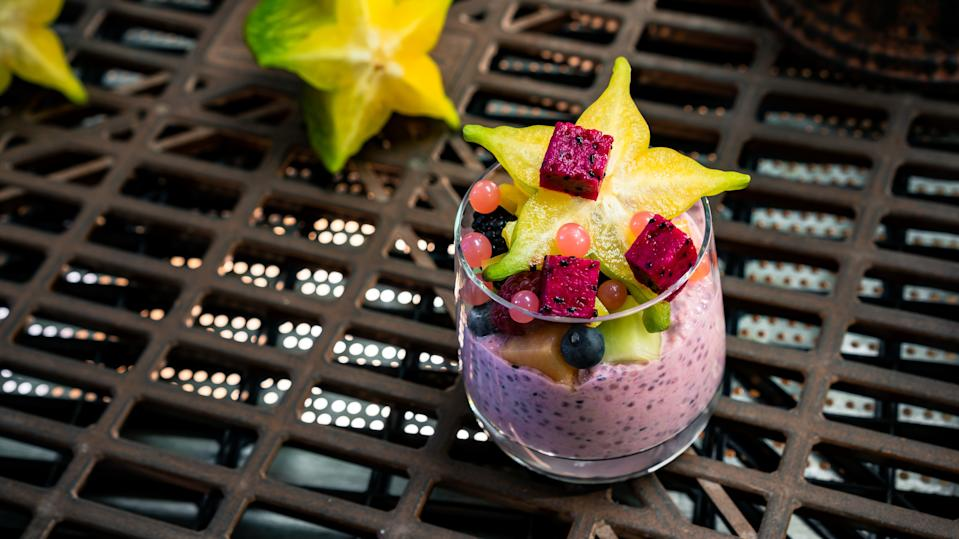 Much more exciting than a bowl of oatmeal, a cup of Rising Moons Overnight Oats includes oats, dragon fruit, yogurt and seasonal fruit. It can be found at Docking Bay 7 Food and Cargo, Ronto Roasters and Oga's Cantina. (Photo: David Nguyen/Disney Parks)