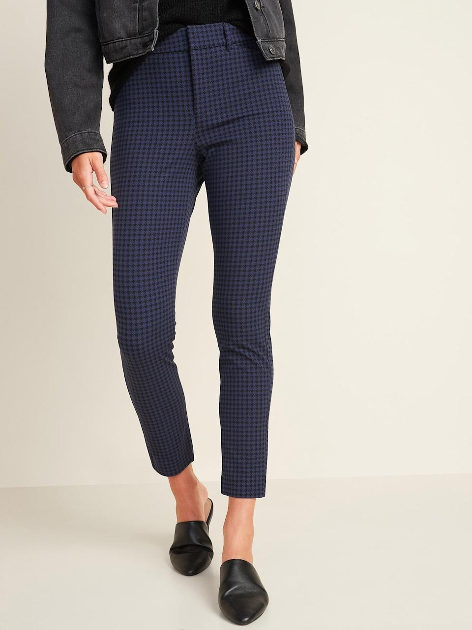 <p>Style these <span>Old Navy All-New High-Waisted Patterned Pixie Ankle Pants</span> ($40) with flats and a leather jacket.</p>