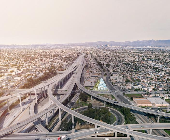 """A photographic illustration shows Isla Intersections highlighted to the right of the freeway. The pre-fab housing complex for formerly homeless residents was designed by Lorcan O'Herlihy Architects. <span class=""""copyright"""">(LOHA)</span>"""