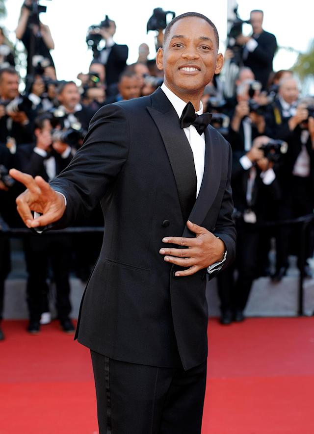 """<p>Jury member <a href=""""https://www.yahoo.com/movies/tagged/will-smith"""" data-ylk=""""slk:Will Smith"""" class=""""link rapid-noclick-resp"""">Will Smith</a> at the <em>Ismael's Ghosts</em> (<em>Les Fantomes d'Ismael</em>) screening and Opening Gala at the <a href=""""https://www.yahoo.com/movies/tagged/cannes-film-festival"""" data-ylk=""""slk:Cannes Film Festival"""" class=""""link rapid-noclick-resp"""">Cannes Film Festival</a> on May 17, 2017 (Photo: Andreas Rentz/Getty Images) </p>"""