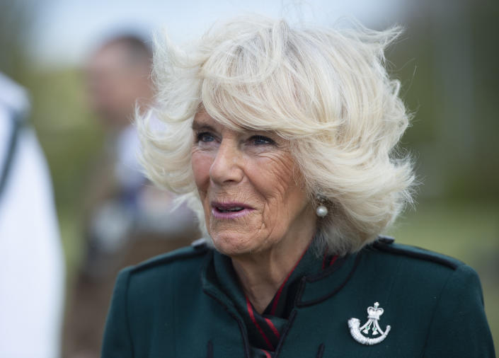 BULFORD, WILTSHIRE - MAY 07: Camilla, Duchess of Cornwall , Colonel-in-Chief of The Rifles, undertakes her first visit to 5th Battalion The Rifles, following her new appointment as Colonel-in-Chief on May 7, 2021 in Bulford, Wiltshire. (Photo by Eddie Mulholland - WPA Pool/Getty Images)