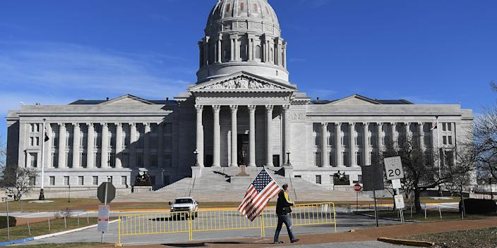 Missouri capitol building on inauguration day