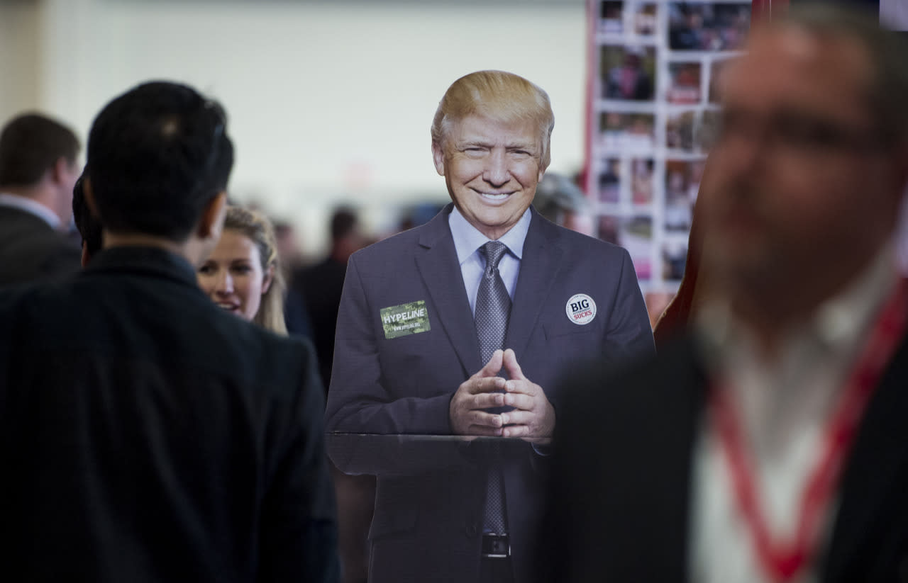 <p>A cardboard cutout of Republican presidential candidate Donald Trump stands in the CPAC Hub room, March 3.<i> (Photo: Bill Clark/CQ Roll Call/Getty Images)</i></p>