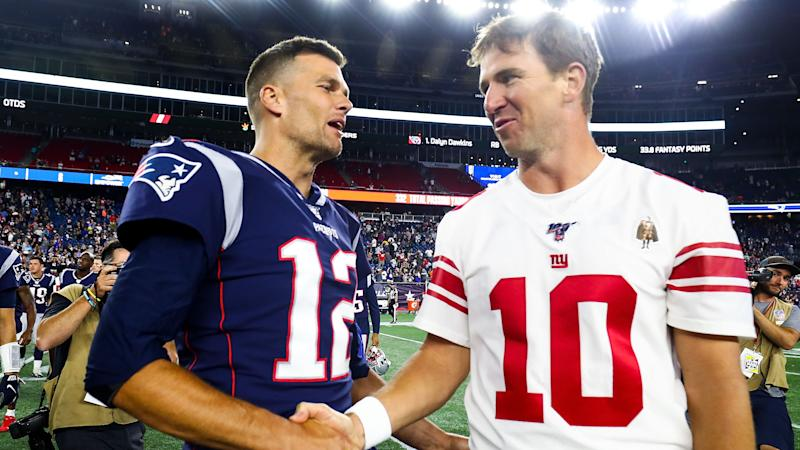 New England Patriots quarterback Tom Brady had nothing but praise for Eli Manning, who defeated him in the Super Bowl twice. (Adam Glanzman/Getty Images)