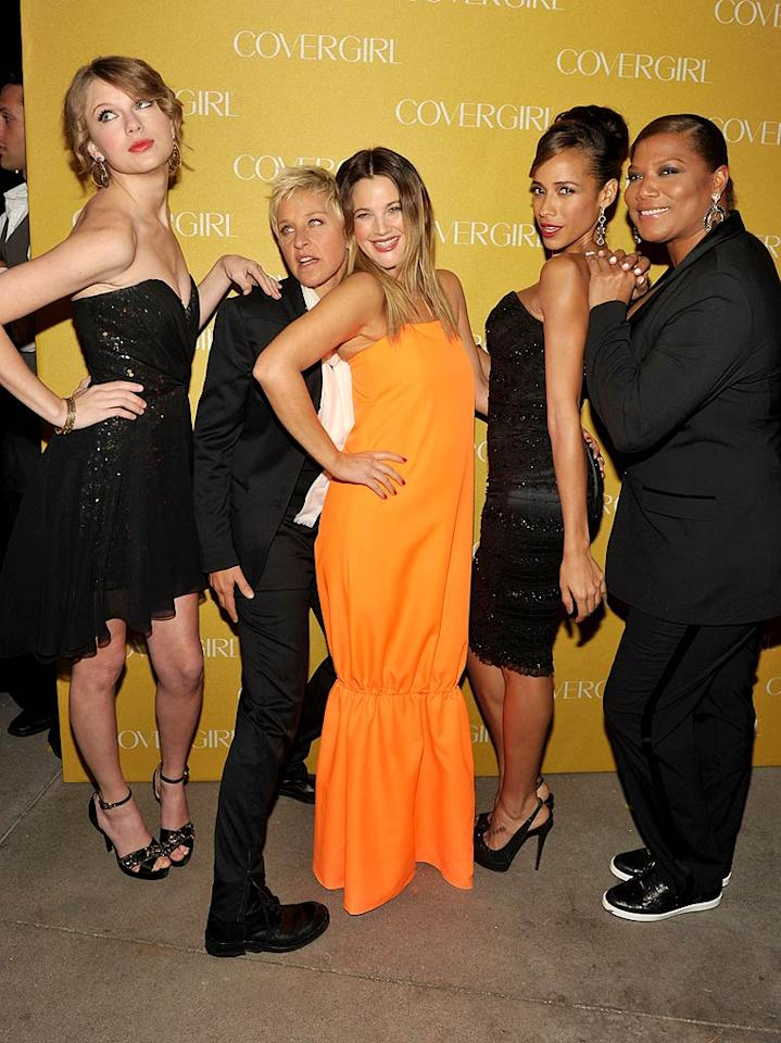 """Though the brand's most famous representative, Christie Brinkley, wasn't in attendance, CoverGirl's current spokesmodels -- Taylor Swift, Ellen DeGeneres, Drew Barrymore, Dania Ramirez, and Queen Latifah -- were easy, breezy, and beautiful upon arriving at the beauty brand's 50th Anniversary celebration at BOA Steakhouse in West Hollywood Wednesday night. John Shearer/<a href=""""http://www.gettyimages.com/"""" target=""""new"""">GettyImages.com</a> - January 5, 2011"""