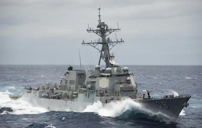 Guided-missile cruiser USS Wayne E. Meyer passed the Paracel Islands on Thursday (AFP Photo/Z.A. Landers)