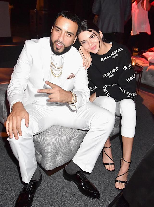 "<p>Nearby, the model was happy to catch up with Montana, who once dated her older sister Khloé Kardashian, at the <i>Can't Stop, Won't Stop</i> premiere afterparty. Khloé and French <a href=""https://www.yahoo.com/celebrity/khloe-kardashian-goes-strip-club-122800205.html"" data-ylk=""slk:are still friendly;outcm:mb_qualified_link;_E:mb_qualified_link"" class=""link rapid-noclick-resp newsroom-embed-article"">are still friendly</a>, and Kendall and French obviously are, too. (Photo: Jeff Kravitz/FilmMagic) </p>"
