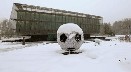 FILE PHOTO: The FIFA headquarters are seen during a snowfall in Zurich, Switzerland, January 10, 2017.   REUTERS/Arnd Wiegmann/File Photo