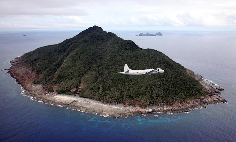 A Japanese Maritime Self-Defense Force plane pictured in 2011 flying over the disputed islets known as the Senkaku islands in Japan and Diaoyu islands in China