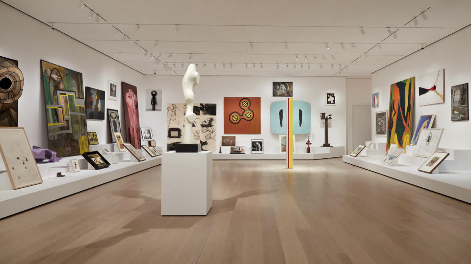 """This undated image released by the The Museum of Modern Art shows the installation """"Artist's Choice: Amy Sillman—The Shape of Shape,"""" part of the renovation and expansion effort at MoMA in New York. As the Museum of Modern Art in Manhattan prepares to reopen following a $450 million, 47,000 square foot expansion, visitors can prepare for much more than much-needed elbow room there - and new juxtapositions of works meant to encourage broader perspectives and new narratives. (Heidi Bohnenkamp/MoMA via AP)"""