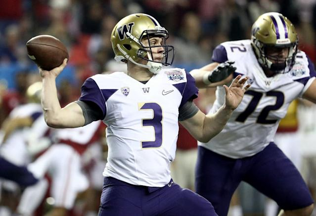 Jake Browning is currently rehabbing from shoulder surgery. (Getty)