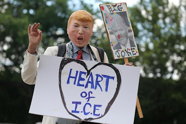 "<p>A demonstrator dressed as U.S. President Donald Trump marches as immigration activists rally as part of a march calling for ""an end to family detention"" and in opposition to the immigration policies of the Trump administration, in Washington, D.C., June 28, 2018. (Photo: Jonathan Ernst/Reuters) </p>"