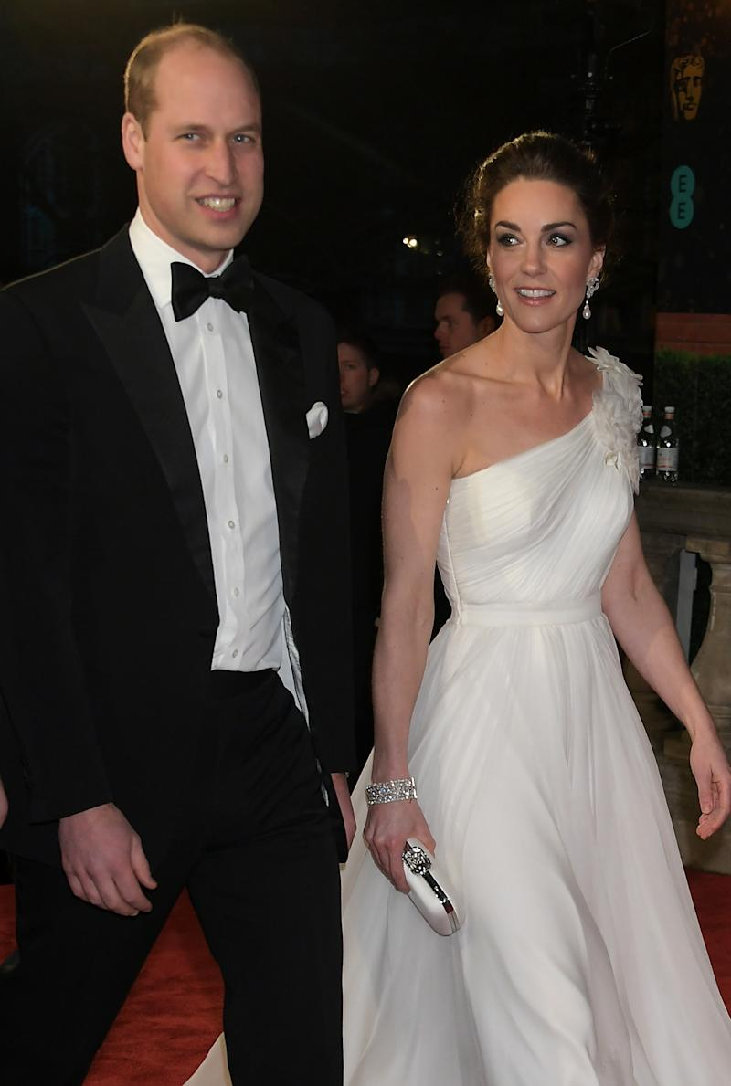 LONDON, ENGLAND - FEBRUARY 10: Prince William, Duke of Cambridge and Catherine, Duchess of Cambridge attend the EE British Academy Film Awards at Royal Albert Hall on February 10, 2019 in London, England. (Photo by David M. Benett/Dave Benett/Getty Images)