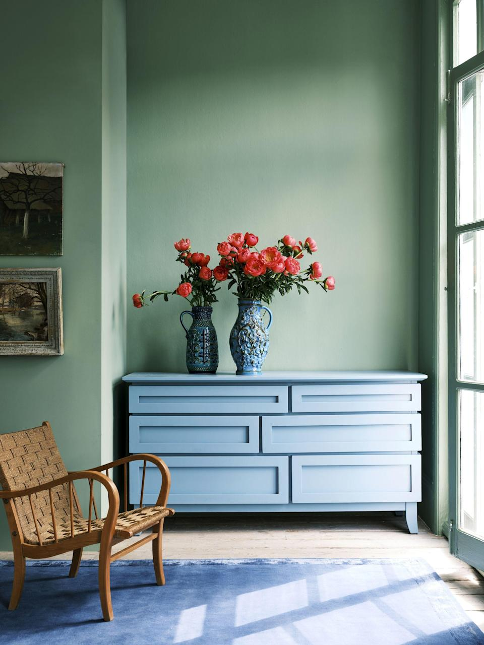 """<p><a class=""""link rapid-noclick-resp"""" href=""""https://go.redirectingat.com?id=127X1599956&url=https%3A%2F%2Fwww.farrow-ball.com%2Fpaint-colours%2Fbreakfast-room-green&sref=https%3A%2F%2Fwww.redonline.co.uk%2Finteriors%2Fdecorating-ideas%2Fg37413889%2Ffarrow-ball-colour-trends-2022%2F"""" rel=""""nofollow noopener"""" target=""""_blank"""" data-ylk=""""slk:SHOP NOW"""">SHOP NOW</a></p><p>'Using one colour on both walls and woodwork, such as lively Breakfast Room Green, can make a room look bigger by disguising the limits of the space. The bold use of this one colour also creates an exceptional background for art, or for furniture which can be upcycled with a lick of Modern Eggshell.</p><p>'The combination here of Breakfast Room Green and Stone Blue feels both arresting and familiar, while the chalky matt finish of our signature Estate Emulsion on the walls shows these colours at their very best as the light changes through the day.'</p>"""