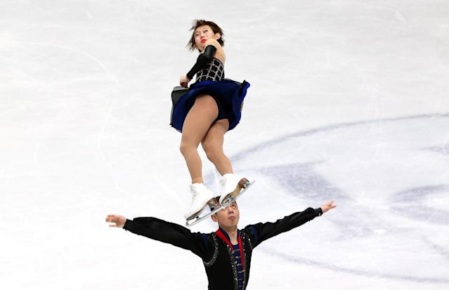 Figure Skating - World Figure Skating Championships - The Mediolanum Forum, Milan, Italy - March 21, 2018 China's Peng Cheng and Jin Yang during the Pairs Short Programme REUTERS/Alessandro Bianchi TPX IMAGES OF THE DAY