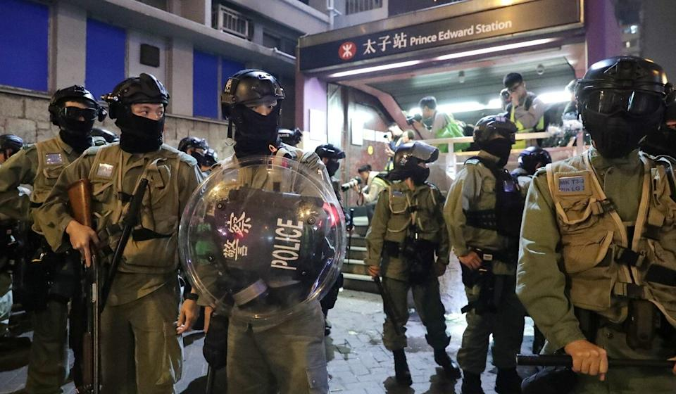 Police outside Prince Edward MTR station on August 31, 2019. Photo: Edmond So