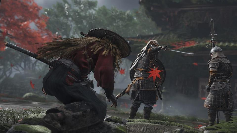 Ghost of Tsushima's main character prepares to battle foes.