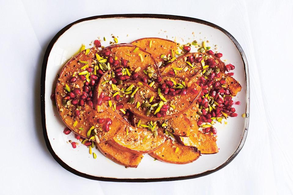 Top roasted winter squash with dukkah, an Egyptian mix of herbs, nuts, and spices.
