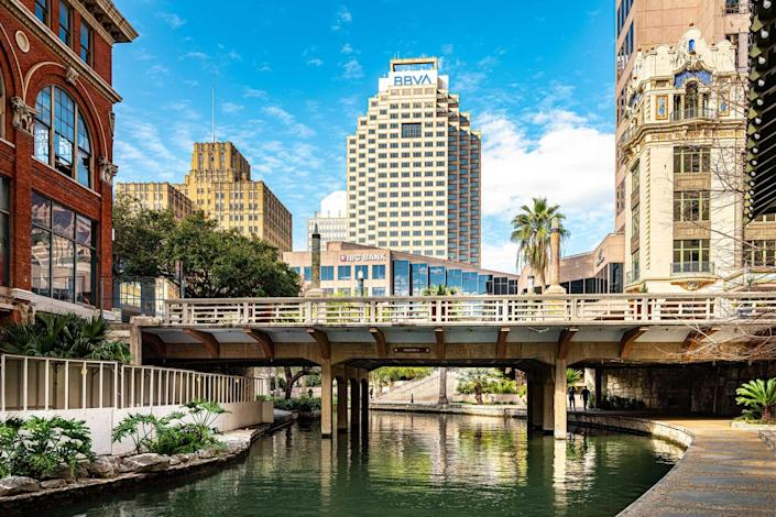 Daytime view of the River Walk in San Antonio, Texas