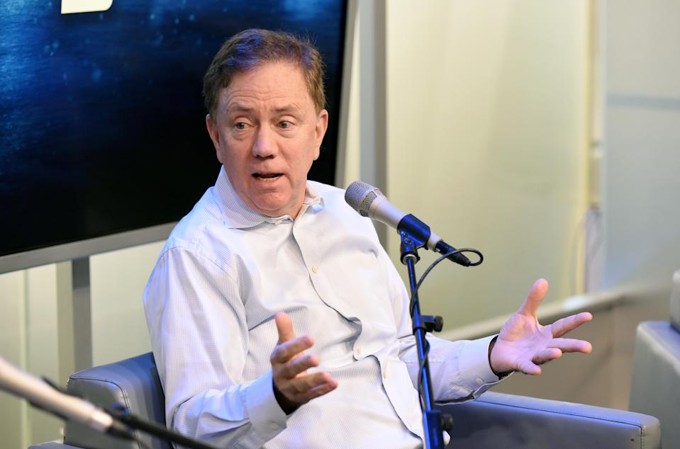NEW YORK, NEW YORK - DECEMBER 20:  Governor of Connecticut Ned Lamont speaks during SiriusXM Business Radio's 'Making A Leader' Series with Governor, Ned Lamont and Wife, Anne Lamont at SiriusXM Studios on December 20, 2019 in New York City.  (Photo by Bonnie Biess/Getty Images for SiriusXM)